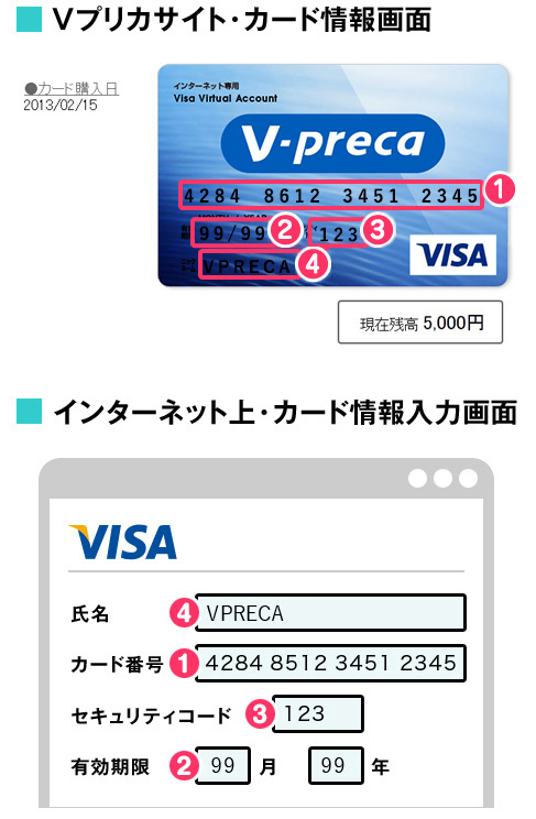 V-Preca Site - Card Information, Online Shopping Site - Card Information Entry Screen