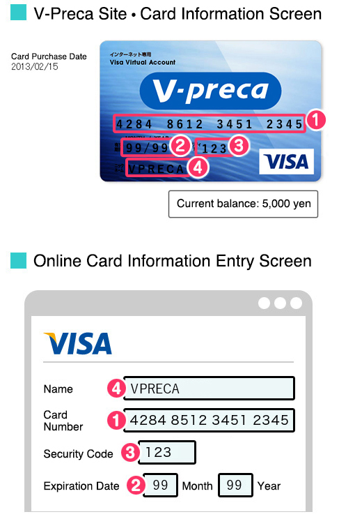 v preca use v preca internet only visa prepaid card